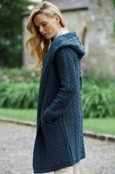 Shawl Collared Hooded Cardigan - 4872